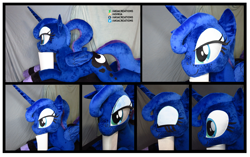 Size: 3649x2297 | Tagged: safe, artist:akiacreations, princess luna, alicorn, alternate hairstyle, clothes, eyes closed, female, folded wings, freckles, horn, irl, lidded eyes, life size, mare, missing accessory, photo, plushie, ponytail, prone, socks, solo, striped socks, wings