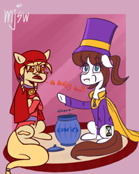 Size: 4000x5000 | Tagged: safe, artist:mjsw, pony, a hat in time, blushing, cookie, cookie jar, duo, food, hat kid, mustache girl, ponified, unamused