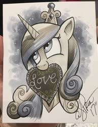Size: 1582x2048   Tagged: safe, artist:andypriceart, princess cadance, alicorn, pony, female, grayscale, heart, holiday, looking away, mare, marker drawing, monochrome, mouth hold, photo, smiling, solo, traditional art, valentine's day