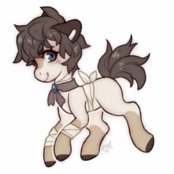 Size: 4000x4000 | Tagged: safe, artist:misocosmis, oc, oc only, earth pony, pony, bandage, necktie, simple background, white background