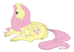 Size: 5069x3592 | Tagged: safe, fluttershy, pegasus, pony, blushing, female, mare, prone, simple background, solo, white background
