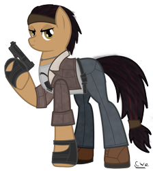 Size: 758x847 | Tagged: safe, artist:99999999000, earth pony, pony, alyx vance, clothes, female, gun, half-life, half-life 2, handgun, pistol, ponified, simple background, solo, transparent background, video game, weapon