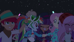 Size: 1600x900 | Tagged: safe, screencap, alizarin bubblegum, fluttershy, ginger owlseye, hunter hedge, rainbow dash, raspberry lilac, snow flower, zephyr breeze, equestria girls, equestria girls series, sunset's backstage pass!, spoiler:eqg series (season 2), background human, female, male