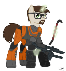 Size: 840x903 | Tagged: safe, artist:99999999000, pony, unicorn, ar2, clothes, crowbar, glasses, gordon freeman, gun, half-life, half-life 2, hev suit, male, ponified, pulse rifle, rifle, simple background, solo, suit, transparent background, video game, weapon