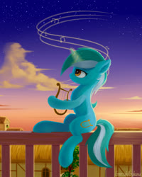 Size: 1600x2000 | Tagged: safe, artist:emeraldgalaxy, lyra heartstrings, pony, unicorn, fence, lyre, musical instrument, solo, twilight (astronomy)