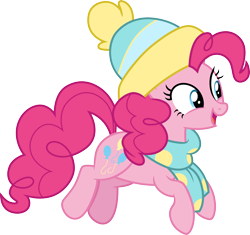Size: 3190x3000 | Tagged: safe, artist:cloudyglow, pinkie pie, earth pony, pony, best gift ever, beanie, clothes, cute, diapinkes, female, giant hat, hat, high res, jumping, mare, open mouth, scarf, simple background, solo, transparent background, vector, winter outfit