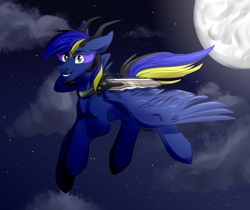 Size: 2860x2400 | Tagged: safe, artist:fraxus, oc, oc only, oc:stail, alicorn, demon, demon pony, original species, complex background, fear pony, full moon, male, moon, moonlight, night, night sky, question mark, sky, solo, stallion, sword, weapon
