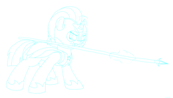 Size: 1920x1080 | Tagged: safe, artist:astralr, silver sable, pony, unicorn, female, guardsmare, mare, royal guard, solo, spear, weapon
