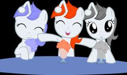 Size: 3182x1885 | Tagged: safe, artist:pinkiepi314, oc, oc only, oc:apathia, oc:discentia, oc:karma, pony, unicorn, female, filly, high res, meme, milkshake, milkshake ponies, ponified, reddit, simple background, solo, transparent background, vector