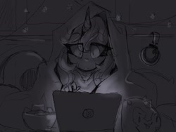 Size: 2048x1536 | Tagged: safe, artist:nekosnicker, princess luna, human, computer, female, grayscale, headphones, horn, horned humanization, humanized, laptop computer, monochrome, night, sketch, solo