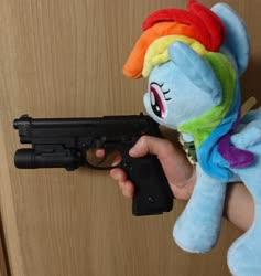 Size: 1939x2048 | Tagged: safe, artist:omegapony16, rainbow dash, pegasus, pony, airsoft, female, gun, hand, handgun, irl, mare, neckerchief, photo, pistol, plushie, toy, weapon