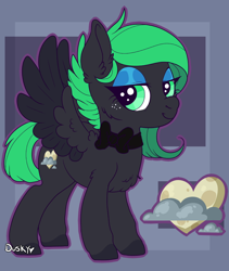 Size: 882x1045 | Tagged: safe, artist:duskyvelvet, oc, oc only, pegasus, pony, adult, blue eyeshadow, bow, chest fluff, cute, duskyvelvet, ear fluff, eyeshadow, female, green eyes, grin, lidded eyes, makeup, mare, pegasus oc, ref, reference, reference sheet, smiling, solo, spread wings, wings