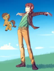 Size: 782x1021 | Tagged: safe, artist:ka-samy, oc, oc only, oc:charmed clover, earth pony, human, pony, clothes, cloud, clover, duo, flower, flower in mouth, four leaf clover, humanized, male, mouth hold, pants, raised hoof, self ponidox, spread arms, stallion, unshorn fetlocks