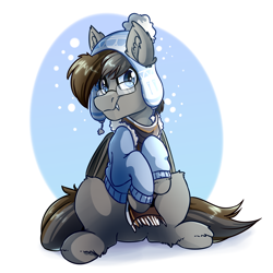 Size: 4000x4000 | Tagged: safe, artist:witchtaunter, oc, bat pony, pony, absurd resolution, bat pony oc, bat wings, clothes, commission, glasses, jacket, scarf, solo, wings, winter outfit