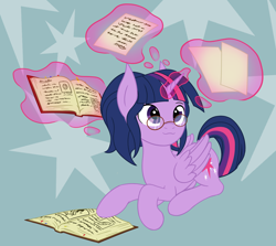 Size: 2686x2397 | Tagged: safe, artist:thehuskylord, twilight sparkle, alicorn, pony, book, cutie mark, glasses, levitation, magic, paper, ponytail, simple background, solo, telekinesis, twilight sparkle (alicorn), writing