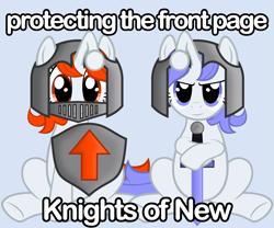 Size: 2683x2236 | Tagged: safe, artist:fabulouspony, oc, oc only, oc:discentia, oc:karma, pony, unicorn, armor, downvote, duo, female, reddit, shield, sitting, sword, upvote, weapon