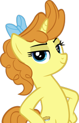 Size: 3164x4932 | Tagged: safe, artist:ironm17, pumpkin cake, unicorn, the last problem, bipedal, bow, elegant, female, hair bow, hooves on hips, mare, older, older pumpkin cake, simple background, smiling, standing, transparent background, vector