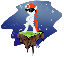 Size: 2587x2318 | Tagged: safe, artist:fabulouspony, oc, oc only, oc:karma, pony, unicorn, bipedal, cutie mark, dirt cube, female, mare, ponified, reddit, simple background, space, sunglasses, transparent background, upvote, vector