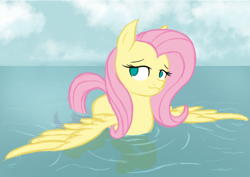 Size: 2667x1886 | Tagged: safe, artist:thehuskylord, fluttershy, pegasus, pony, cloud, cute, female, lake, mare, no pupils, outdoors, pegaduck, shyabetes, solo, spread wings, swimming, three quarter view, water, wings