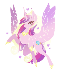 Size: 1269x1410 | Tagged: safe, artist:sucreskullx, princess cadance, alicorn, pony, abstract background, circle background, cute, cutedance, ear fluff, female, heart, heart eyes, lineless, mare, solo, spread wings, transparent background, wingding eyes, wings
