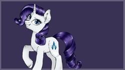 Size: 1920x1080 | Tagged: safe, artist:oksssid, rarity, pony, unicorn, ear fluff, female, looking at you, mare, purple background, simple background, smiling, solo, unshorn fetlocks