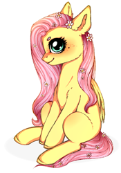Size: 2005x2863 | Tagged: safe, artist:oksssid, fluttershy, pegasus, pony, cheek fluff, cute, ear fluff, female, flower, flower in hair, freckles, high res, mare, profile, shyabetes, simple background, sitting, solo, white background