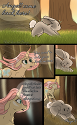 Size: 1181x1920 | Tagged: safe, artist:thechaoticboop, angel bunny, fluttershy, pony, rabbit, unicorn, comic:an unexpected visitor, leak, spoiler:g5, animal, comic, female, fluttershy (g5), forest, g5, mare, redesign, running, unicorn fluttershy