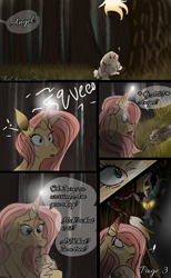 Size: 1181x1920 | Tagged: safe, artist:thechaoticboop, angel bunny, discord, fluttershy, draconequus, pony, rabbit, unicorn, comic:an unexpected visitor, leak, spoiler:g5, animal, comic, discord (g5), female, fluttershy (g5), forest, g5, glowing eyes, magic, mare, redesign, unicorn fluttershy