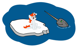 Size: 3155x1901 | Tagged: safe, artist:fabulouspony, oc, oc only, oc:karma, narwhal, pony, unicorn, female, ice, mare, ponified, reddit, simple background, solo, transparent background, vector, water
