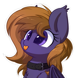 Size: 1280x1280 | Tagged: source needed, safe, artist:acersiii, oc, oc:lunar-rose, bat pony, :p, bat ears, bat pony oc, bat wings, big eyes, chest fluff, collar, cute, orange mane, purple coat, purple eyes, simple background, tongue out, transparent background, wings