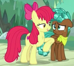 Size: 643x568 | Tagged: safe, screencap, apple bloom, spur, earth pony, pegasus, pony, growing up is hard to do, spoiler:s09e22, bandana, biting, bow, cropped, duo, eyelashes, floppy ears, folded wings, freckles, lidded eyes, messy mane, older, older apple bloom, out of context, teenager, tongue bite, wings