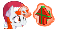 Size: 200x100 | Tagged: safe, artist:blastdown, oc, oc only, oc:karma, pony, unicorn, christmas, female, gift wrapped, hat, holiday, magic, magic aura, mare, ponified, reddit, santa hat, simple background, solo, transparent background, upvote