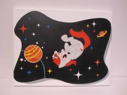 Size: 1500x1125   Tagged: safe, artist:fabulouspony, artist:pyrobob, oc, oc:karma, pony, unicorn, 404, cutie mark, female, irl, mare, paint, photo, ponified, reddit, space, upside down, upvote