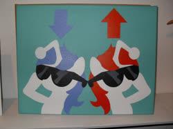 Size: 1143x857 | Tagged: safe, artist:pyrobob, oc, oc only, oc:discentia, oc:karma, pony, unicorn, downvote, duo, irl, painting, photo, reddit, sunglasses, traditional art, upvote