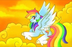Size: 1098x720 | Tagged: safe, artist:annabellderwin, rainbow dash, pegasus, pony, leak, spoiler:g5, cloud, female, g5, hooves, lying down, mare, on a cloud, rainbow dash (g5), redesign, sky, spread wings, wings