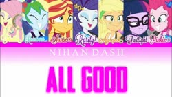 Size: 1280x720 | Tagged: safe, applejack, fluttershy, pinkie pie, rainbow dash, rarity, sci-twi, sunset shimmer, twilight sparkle, human, equestria girls, spring breakdown, spoiler:eqg series, spoiler:eqg series (season 2), all good (song), geode of sugar bombs, humane five, humane seven, humane six, magical geodes