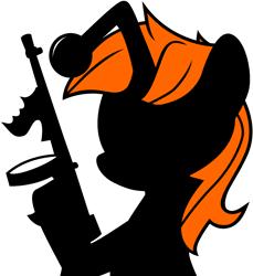 Size: 2040x2228   Tagged: safe, artist:tajarnia, oc, oc only, oc:karma, pony, unicorn, gun, ponified, reddit, silhouette, simple background, solo, tommy gun, transparent background, weapon