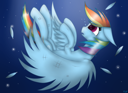 Size: 2338x1700 | Tagged: safe, artist:victoria-luna, rainbow dash, pegasus, pony, falling, female, mare, sky, solo, spread wings, wings