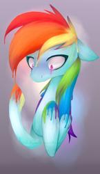 Size: 642x1110 | Tagged: safe, artist:alphaaquilae, rainbow dash, pegasus, pony, female, mare, melting, rainbow, simple background, solo