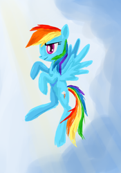 Size: 504x720 | Tagged: safe, artist:birchflame23, rainbow dash, pegasus, pony, female, flying, mare, sky, smiling, solo, spread wings, wings