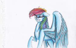 Size: 1426x899 | Tagged: safe, artist:penrosa, rainbow dash, pegasus, pony, badass, female, mare, raised hoof, simple background, smiling, solo, spread wings, white background, wings