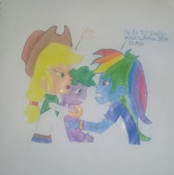 Size: 1568x1574 | Tagged: artist needed, safe, applejack, rainbow dash, spike, equestria girls, angry, applespike, applespikedash, bisexual, female, fight, human spike, lesbian, male, nervous, polyamory, rainbowspike, shipping, spanish, spike gets all the mares, straight, traditional art