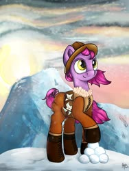 Size: 1280x1698 | Tagged: safe, artist:appleneedle, oc, oc only, oc:snowfighter, earth pony, pony, art, brony, commission, digital art, drawing, fighter, ice, mountain, painting, snow, snowball, solo, sun, wind, winter, your character here