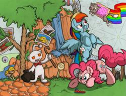 Size: 811x623 | Tagged: safe, artist:necrath, derpy hooves, pinkie pie, rainbow dash, oc, earth pony, pegasus, pony, cake, cane, crossover, cutie mark, female, food, half-life, hat, mare, muffin, nyan cat, pokémon, ponified, portal (valve), rainbow, reddit, slenderman, snoo, spongebob squarepants, top hat, tree, waterfall