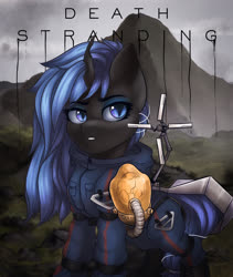 Size: 1600x1900 | Tagged: safe, artist:falafeljake, oc, oc only, oc:queen lahmia, changeling queen, blue changeling, bridge baby, changeling queen oc, death stranding, ych result