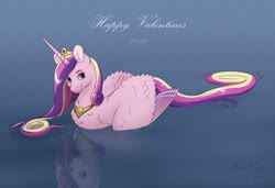 Size: 1600x1097 | Tagged: safe, artist:haretrinity, princess cadance, alicorn, pony, chest fluff, ear fluff, female, holiday, looking at you, mare, reflection, solo, swimming, text, valentine's day, water