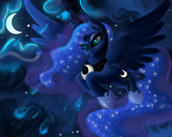 Size: 2500x2000 | Tagged: safe, artist:plavanda87, princess luna, alicorn, pony, crescent moon, female, flying, glowing horn, high res, horn, mare, moon, night, rain, sky, solo, spread wings, stars, wings