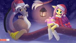 Size: 1920x1080 | Tagged: safe, artist:howxu, discord, fluttershy, anthro, bare shoulders, christmas, clothes, costume, cute, discute, hat, holiday, lantern, looking at you, off shoulder, patreon, patreon logo, present, santa costume, santa hat, shyabetes, sitting, snow, snowfall, winter