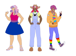 Size: 2732x2048 | Tagged: safe, artist:blacksky1113, artist:icey-wicey-1517, color edit, edit, apple bloom, scootaloo, sweetie belle, human, agender, agender pride flag, badge, bandana, belt, bisexual pride flag, boots, bracelet, clothes, collaboration, colored, converse, cowboy boots, cowboy hat, dark skin, ear piercing, earring, eyebrow piercing, eyes closed, feet, female, fingerless gloves, flower, gay pride flag, gloves, grin, hairband, hat, heart, high heels, hoodie, humanized, jeans, jewelry, lesbian pride flag, lipstick, male, nail polish, necklace, nose piercing, older, older apple bloom, older cmc, older scootaloo, older sweetie belle, open mouth, overalls, pants, piercing, pride, pride flag, rainbow socks, ring, rule 63, scarf, scooteroll, shirt, shoes, simple background, smiling, socks, striped socks, suspenders, t-shirt, trans boy, transgender, transgender pride flag, transparent background, wall of tags