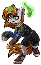 Size: 1199x1911 | Tagged: safe, artist:lrusu, oc, oc only, oc:littlepip, pony, unicorn, fallout equestria, angry, bruised, clothes, fanfic, fanfic art, female, glowing horn, gritted teeth, gun, handgun, hooves, horn, levitation, little macintosh, magic, mare, pipbuck, pipleg, revolver, scar, simple background, solo, telekinesis, vault suit, weapon, white background
